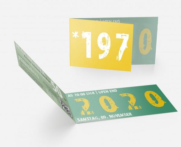 Geburtstag Einladungskarten - 50. Geburtstag Zeitsprung Grün Gelb