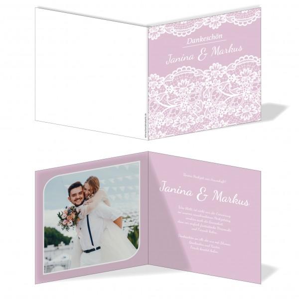 Dankeskarten Danke Hochzeit - Rosa Spitze