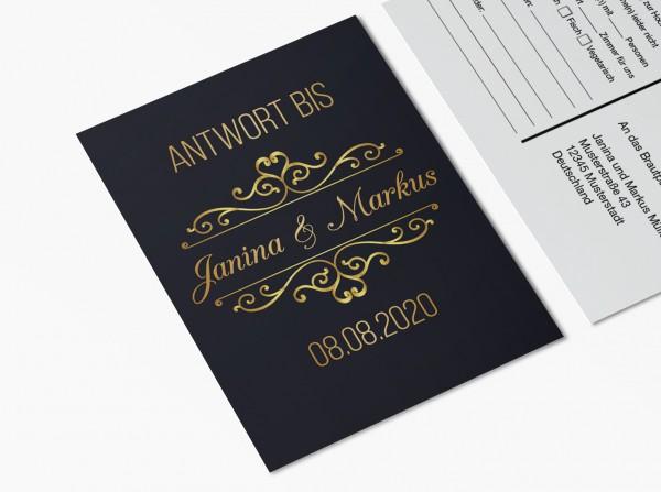 Antwortkarten für Einladung Hochzeit - Goldener Moment