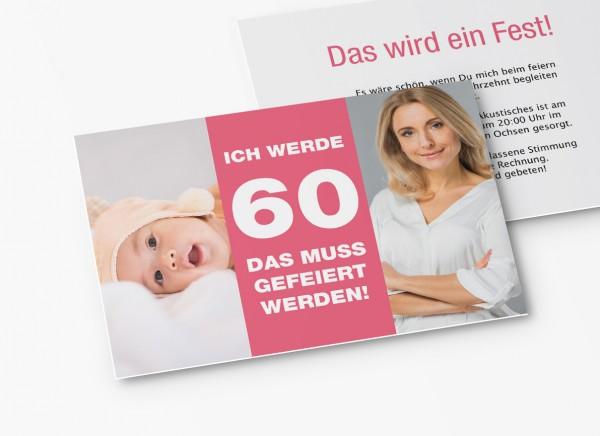 Einladungskarten 60. Geburtstag vom Baby bis Heute