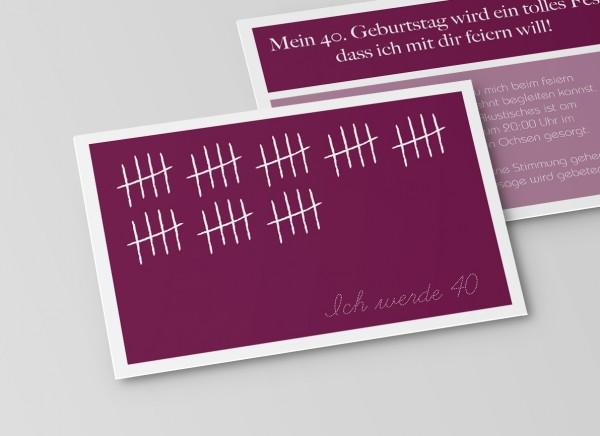 Einladungskarte zum 40. Geburtstag Strichliste in Lila