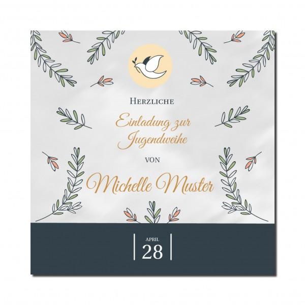 Einladung Einladungskarte Jugendweihe Floral
