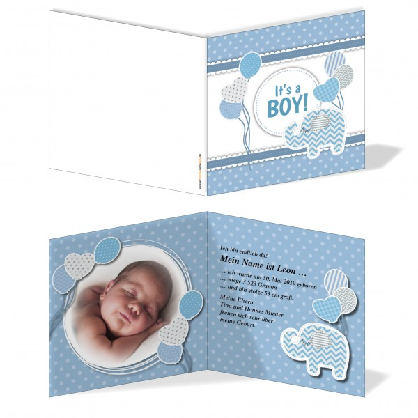 Geburtskarten Babykarten individuell - Junge Elefant
