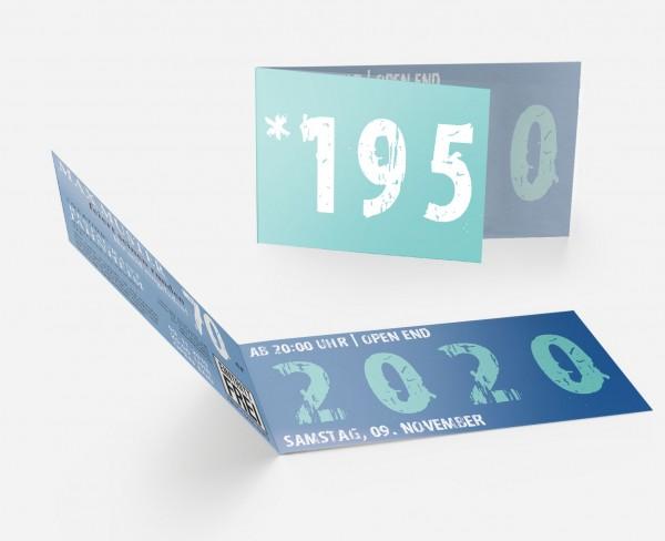 Geburtstag Einladungskarten - 70. Geburtstag Zeitsprung Blau Türkis