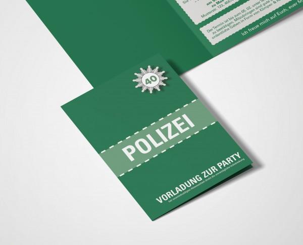 Einladungskarte lustig Geburtstag Vorladung Polizei DIN A6 hoch Klappkarte grün