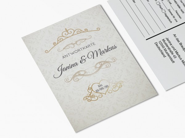 Antwortkarten für Einladung Hochzeit - Ornament