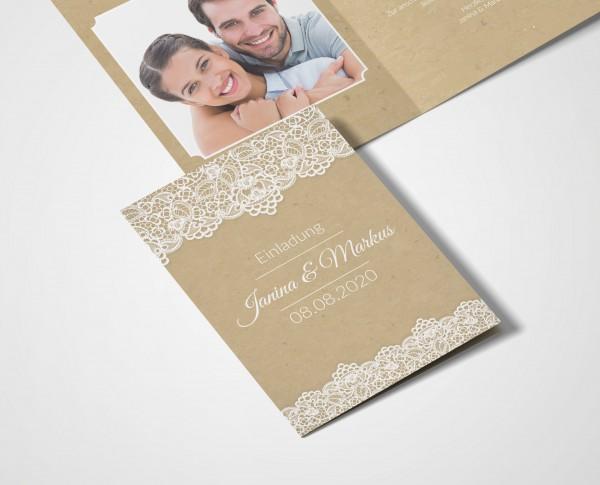 Einladungskarten Hochzeit Hochzeitskarten mit Druck - Retro Spitze
