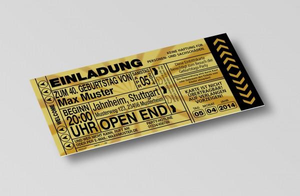 Einladung Einladungskarte lustig Geburtstag-Ticket Gold