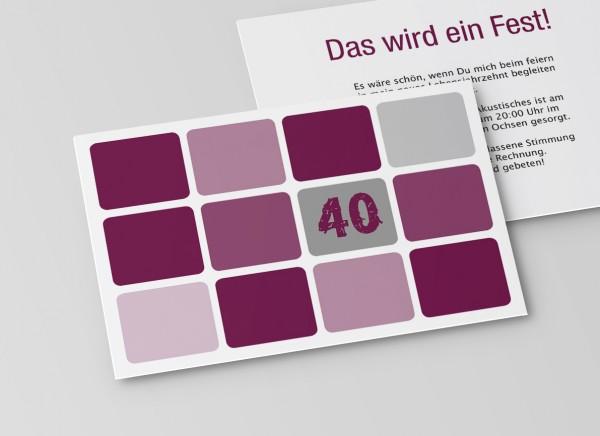 Einladungskarte zum 40. Geburtstag runde Quadrate in Lila