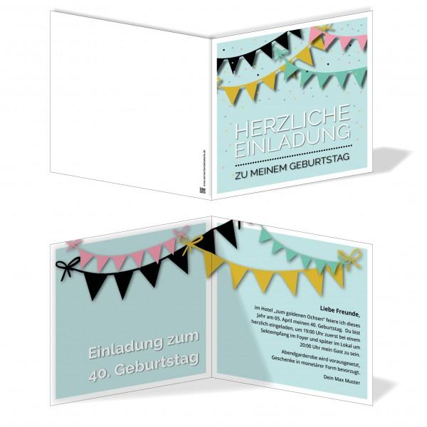 Einladung Einladungskarte Geburtstag Girlandentraum