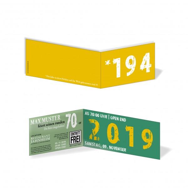 Geburtstag Einladungskarten - 70. Geburtstag Zeitsprung Grün Gelb