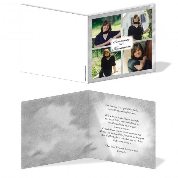 Einladung Einladungskarte Kommunion Bilder Quadrat Grau