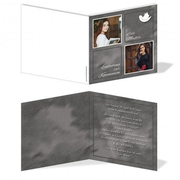 Einladung Einladungskarte Kommunion Bilder Quadrat Schwarz