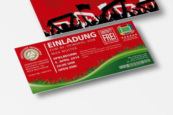 Einladung Einladungskarte lustig Geburtstag Fußball-Stadionticket rot