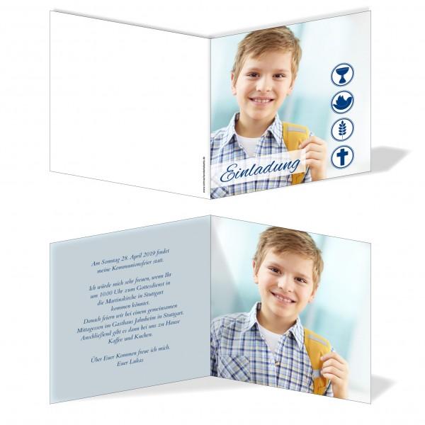Einladung Einladungskarte Kommunion Bild Blau