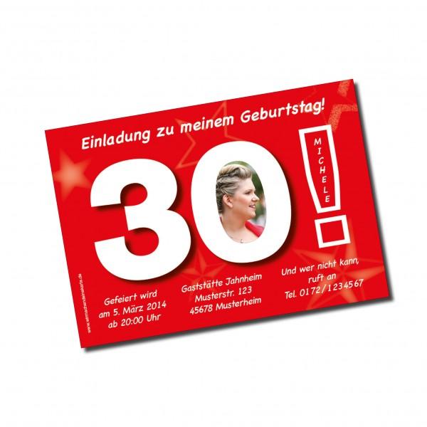 Geburtstag Einladungskarten - 30. Geburtstag Große 30 rot
