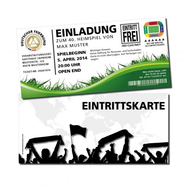 Einladung Einladungskarte lustig Geburtstag Fußball-Stadionticket weiß individue
