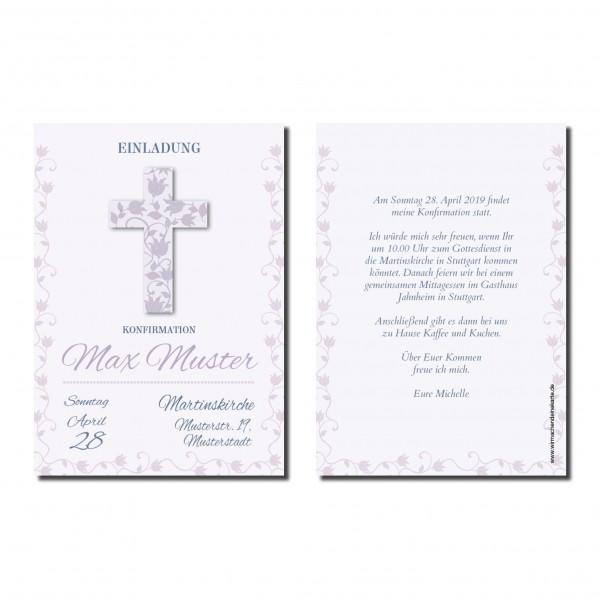 Einladung Einladungskarte Konfirmation Blumen Kreuz