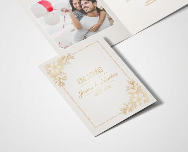 Einladungskarten Hochzeit Hochzeitskarten Mit Druck Goldener Bund