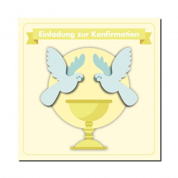 Einladung Einladungskarte Konfirmation Friedenstauben