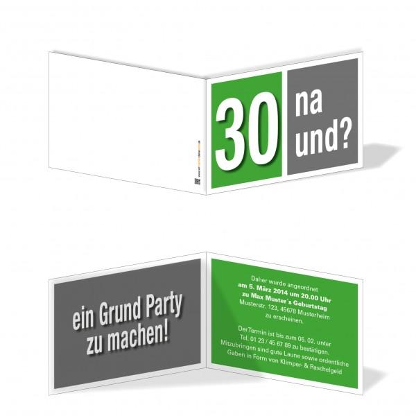Geburtstag Einladungskarten - 30. Geburtstag Na und? Grün