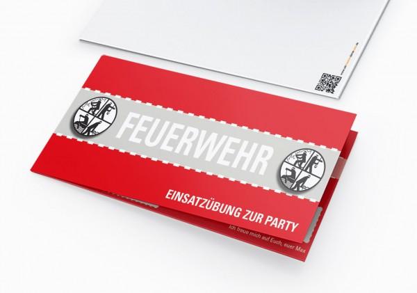 Feuerwehr Einladung Einladungskarte lustig Geburtstag DIN Lang Klappkarte
