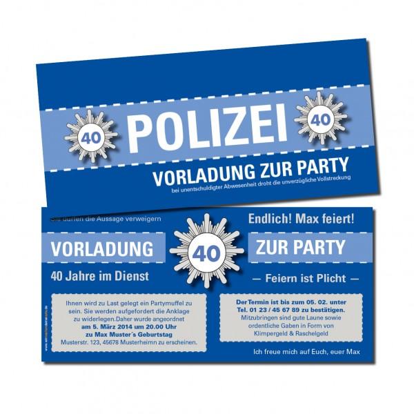 Einladungskarte lustig Geburtstag Vorladung Polizei DIN Lang 2-seitig