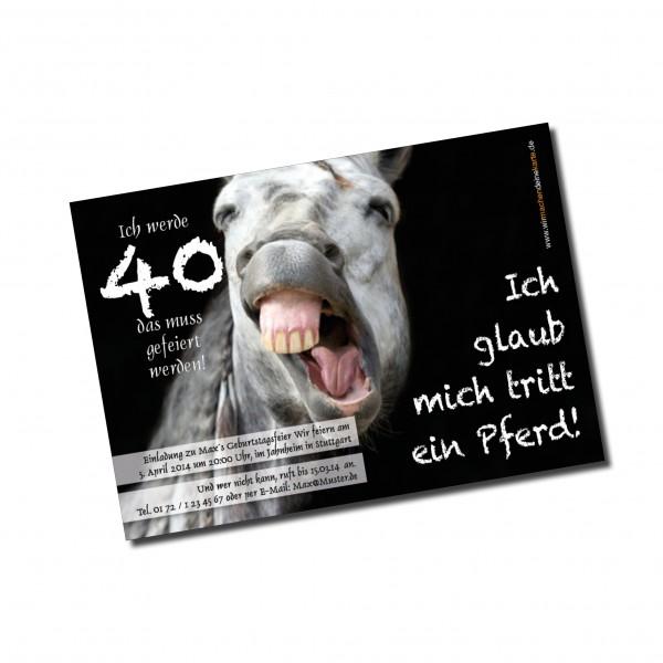 Geburtstag Einladungskarten - 40. Geburtstag Pferd