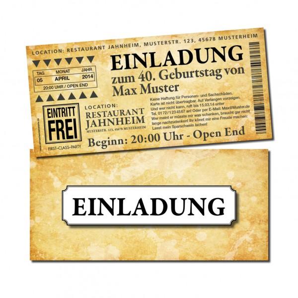 Eintrittskarte Einladung Einladungskarte lustig Geburtstag 3