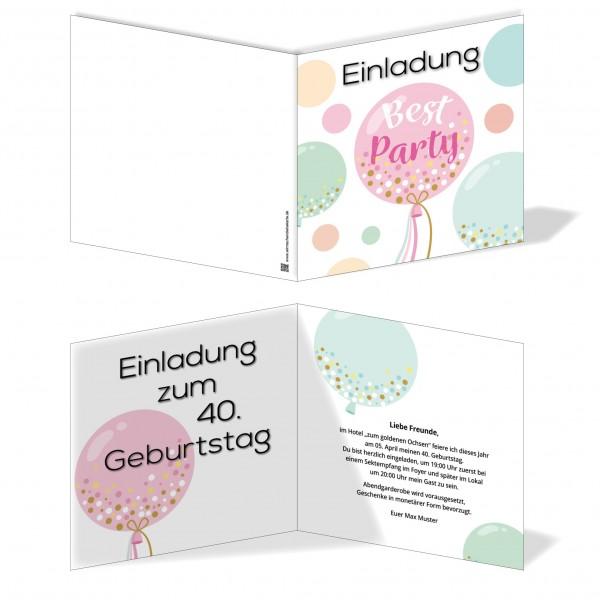 Einladung Einladungskarte Geburtstag Party Luftballon