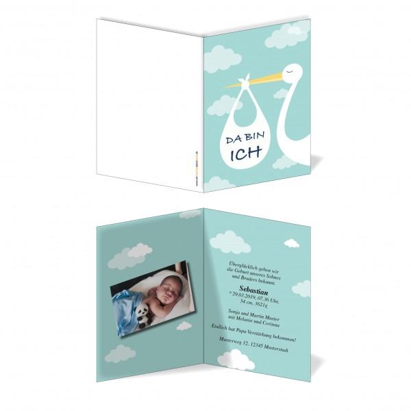 Geburtskarten Babykarten individuell - Junge Storch