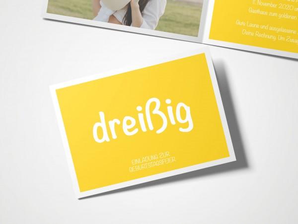 Einladungskarten 30. Geburtstag Quadrat gelb