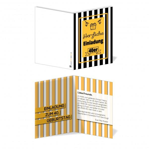 Einladung Einladungskarte Geburtstag Vintage Stripes
