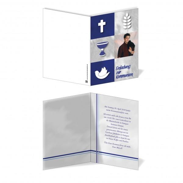 Einladung Einladungskarte Kommunion Blaue Symbole