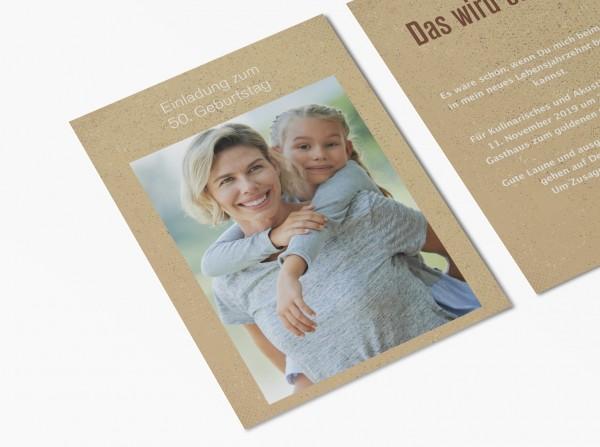 Einladungskarten 50. Geburtstag Kraftpapier