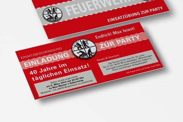 Feuerwehr Einladung Einladungskarte lustig Geburtstag DIN Lang 2-seitig