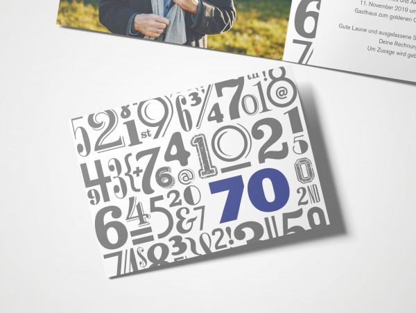 Einladungskarten 70. Geburtstag Zahlenwolke