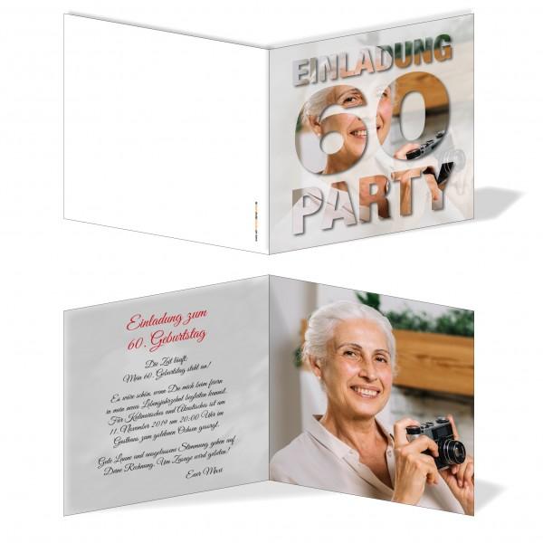 Geburtstag Einladungskarten 60 Geburtstag Eigenes Bild 60