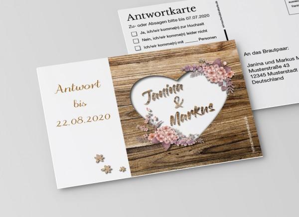 Antwortkarten für Einladung Hochzeit - Rustikale Holz-Optik braun