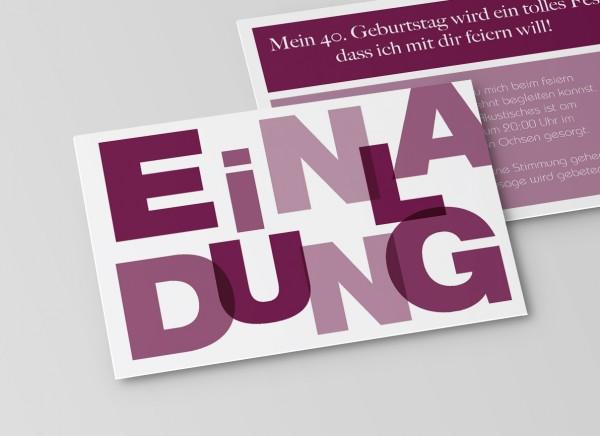 Einladungskarte Große Buchstaben