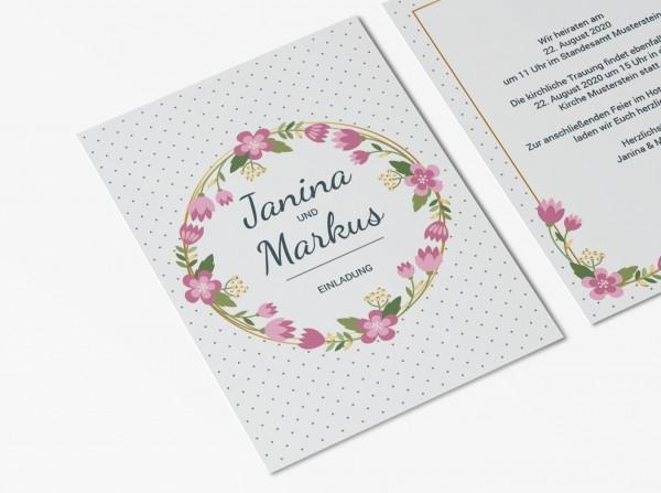 Einladungskarten Hochzeit Hochzeitskarten mit Druck - Blumen Punkte