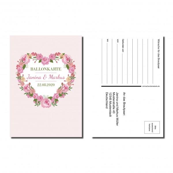 Ballonkarten Luftballon Karten Hochzeit - Blumen Herz