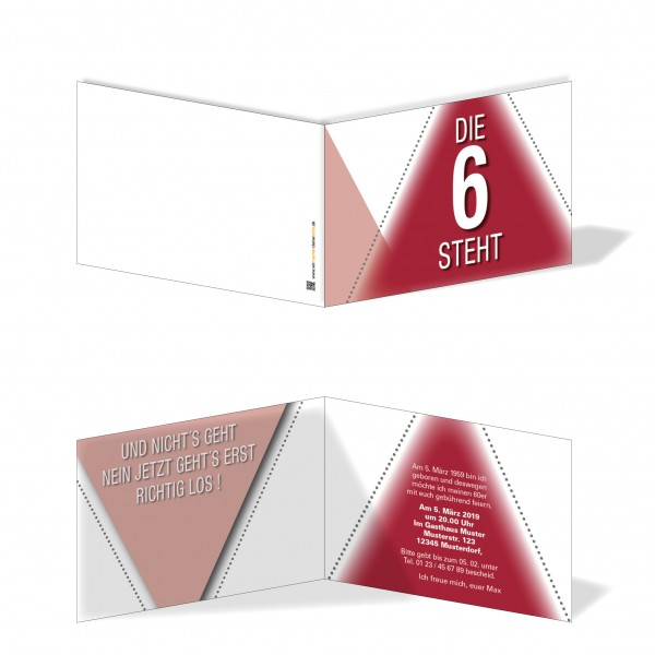 Geburtstag Einladungskarten - 60. Geburtstag Die 6 steht Rot