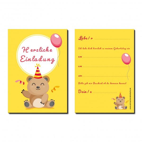 Einladung Einladungskarteskarte Kindergeburtstag Bärchen