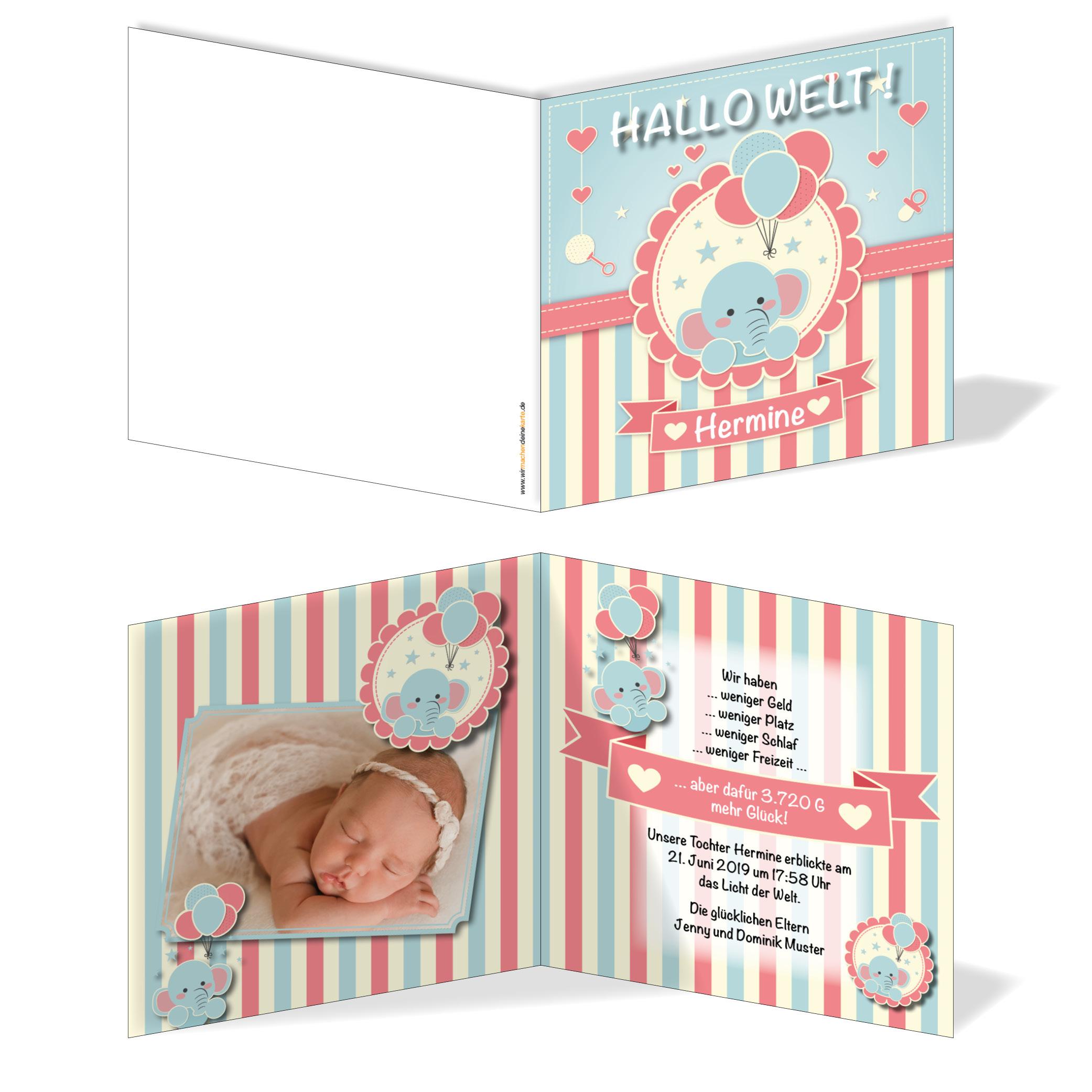 Babykarten.Geburtskarten Babykarten Individuell Madchen Elefant