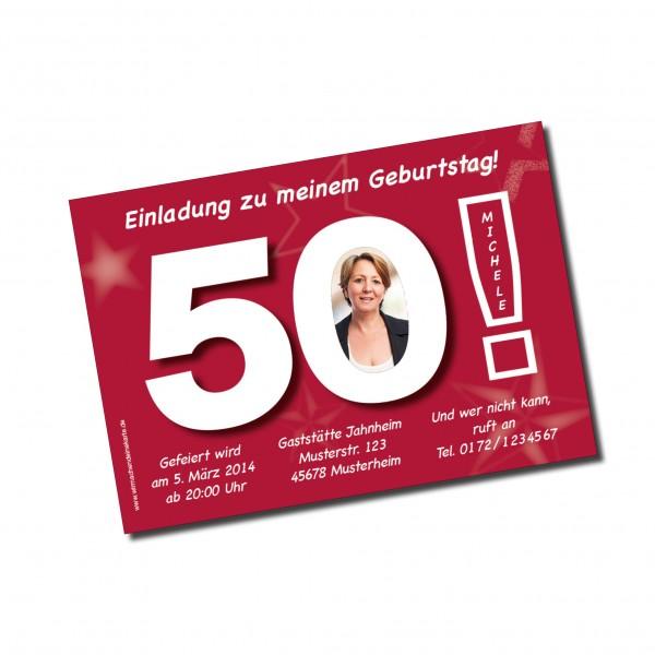 Geburtstag Einladungskarten - 50. Geburtstag Große 50 Pink