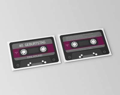 einladungskarte retro kassette | 40. geburtstag