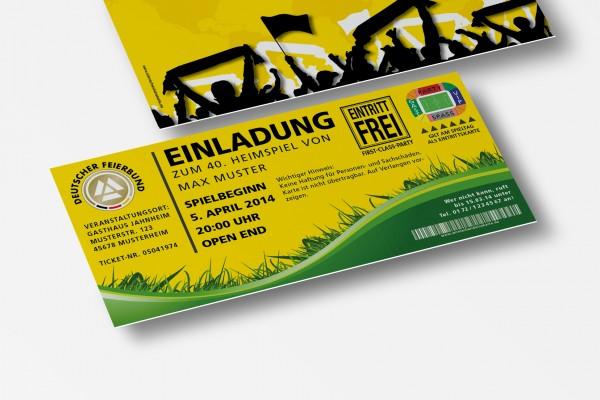 Einladung Einladungskarte lustig Geburtstag Fußball-Stadionticket gelb