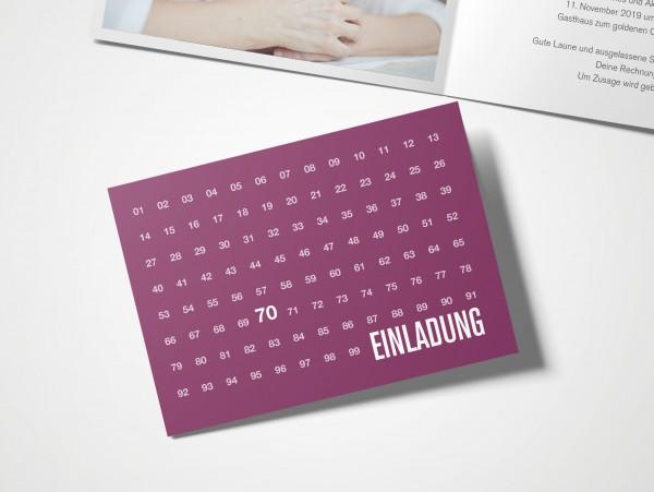 Einladungskarten 70. Geburtstag Zahlenreihe