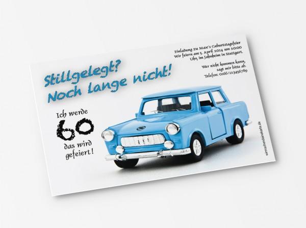 Einladungskarte alter Trabant Oldtimer